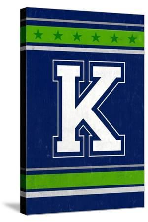 Monogram - Game Day - Blue and Green - K-Lantern Press-Stretched Canvas Print