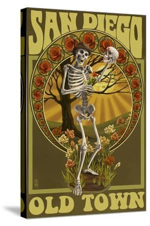 Old Town - San Diego, California - Day of the Dead Sugar Skull-Lantern Press-Stretched Canvas Print