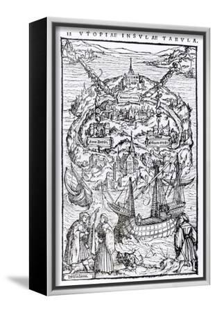 Map of the Island of Utopia, Book Frontispiece--Framed Stretched Canvas Print