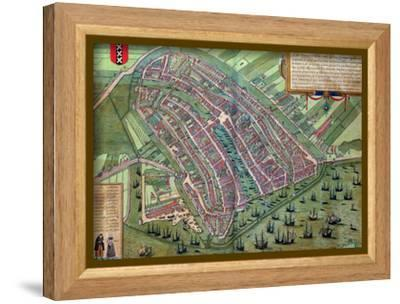 "Map of Amsterdam, from ""Civitates Orbis Terrarum"" by Georg Braun and Frans Hogenburg, circa 1572-Joris Hoefnagel-Framed Stretched Canvas Print"