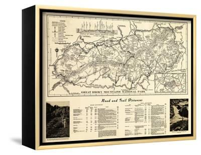 Great Smoky Mountains National Park - Panoramic Map-Lantern Press-Framed Stretched Canvas Print