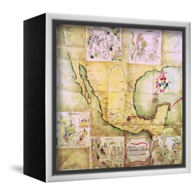 Map of the Route Followed by Hernando Cortes During the Conquest of Mexico--Framed Stretched Canvas Print