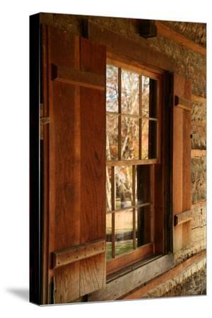 Fall reflections in windows of Cades Cove cabin, Tennessee, USA-Anna Miller-Stretched Canvas Print