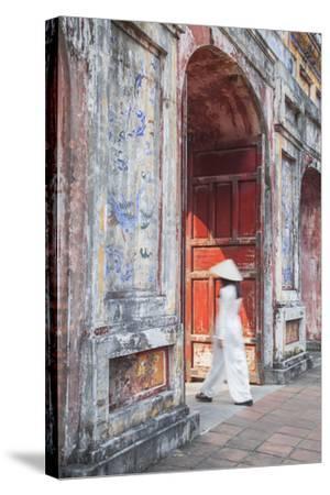 Woman Wearing Ao Dai Dress at Dien Tho Inside Citadel, Hue, Thua Thien-Hue, Vietnam (Mr)-Ian Trower-Stretched Canvas Print