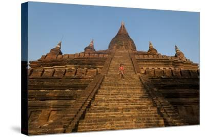Sitting on the Steps of One of the Ancient Temples at Bagan-Alex Treadway-Stretched Canvas Print