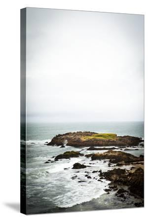 Rain over the Pacific Ocean and Rocky Outcrops on the Big Sur Coast-Keith Barraclough-Stretched Canvas Print
