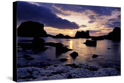Sunset at Ballintoy on the North Coast of Antrim-Chris Hill-Stretched Canvas Print