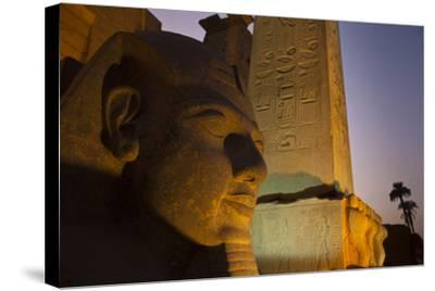 Head of Ramses Ll at Entrance to Luxor Temple-Michael Melford-Stretched Canvas Print