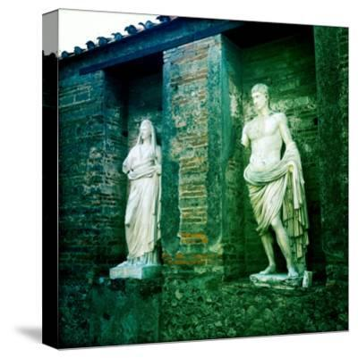 Roman Statues in the Ruins of Pompeii, Italy-Skip Brown-Stretched Canvas Print