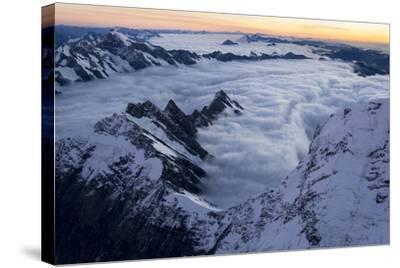 Mount Cook, Tasman Glacier and Fox Glacier at Sunset-Michael Melford-Stretched Canvas Print