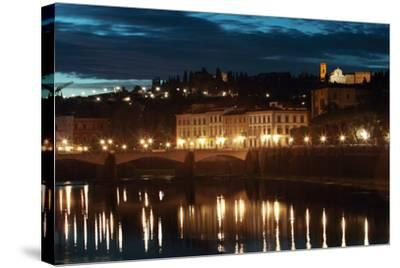 A Bridge and Reflections in the Arno River at Dawn-Joe Petersburger-Stretched Canvas Print