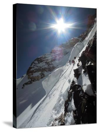 Expedition Members Approach the Japanese Couloir-Darius Zaluski-Stretched Canvas Print
