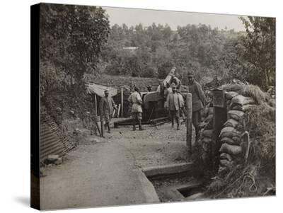 Soldiers with a 152 Howitzer Engaged in the Taking of Gorizia During the First World War-Luigi Verdi-Stretched Canvas Print