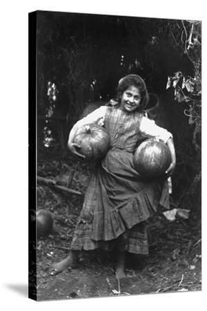 Peasant Girl with Pumpkins-Paolo Biondi-Stretched Canvas Print