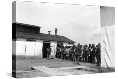 Internment Camp Katzenau, a Suburb of Linz, Austria: Prisoners in Line for the Meal--Stretched Canvas Print