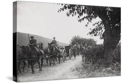 World War I: Command of the Artillery on the March to the War Front--Stretched Canvas Print