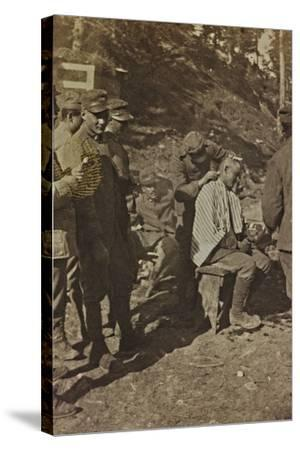 World War I: Italian Soldiers During the Shaving of the Hair--Stretched Canvas Print