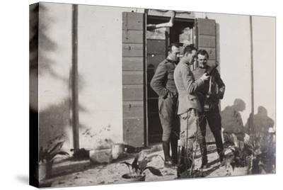 War Campaign 1917-1920: Officers Magnoni, Ranucci and Brusati with a Telescope--Stretched Canvas Print