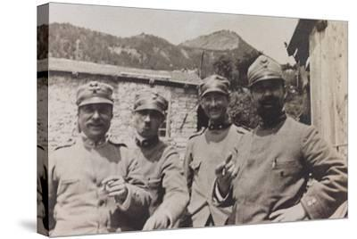 Free State of Verhovac-July 1916: a Group of Italian Soldiers in Bevorchians in Val D'Aupa--Stretched Canvas Print