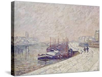 Barges in the Snow-Jean-Baptiste Armand Guillaumin-Stretched Canvas Print