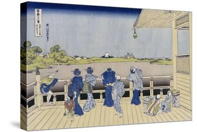 Sazai Hall of Five-Hundred-Rakanji Temple-Katsushika Hokusai-Stretched Canvas Print