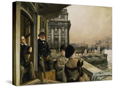 On the Terrace of the Trafalgar-Tavern in Greenwich-James Jacques Tissot-Stretched Canvas Print