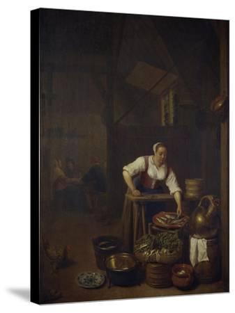 Chef Preparing Food-Hendrik Martensz Sorgh-Stretched Canvas Print