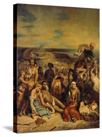 Scenes from the Massacre of Chios, 1822-Eugene Delacroix-Stretched Canvas Print