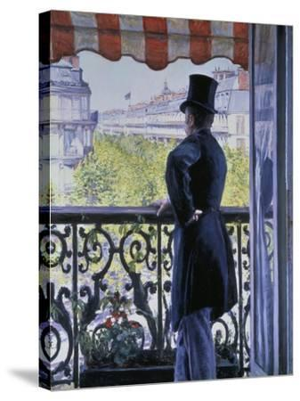 Man on a Balcony, Boulevard Haussmann, 1880-Gustave Caillebotte-Stretched Canvas Print