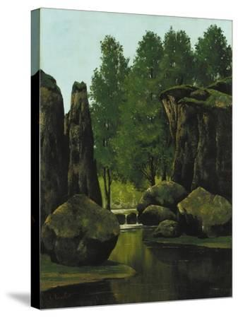 Landscape with Brook and Rocks-Gustave Courbet-Stretched Canvas Print