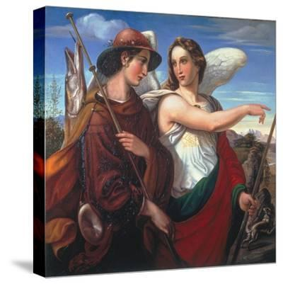 Tobias and the Angel, 1845-Theodor Rehbenitz-Stretched Canvas Print