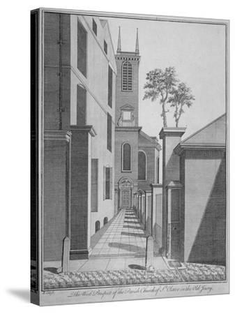 West Prospect of the Church of St Olave Jewry from Ironmonger Lane, City of London, 1750-Benjamin Cole-Stretched Canvas Print