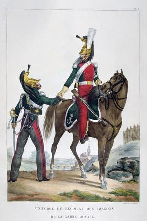 Uniform of a Regiment of Dragoons of the Royal Guard, France, 1823-Charles Etienne Pierre Motte-Stretched Canvas Print