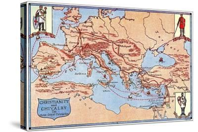 Map of the Routes of the Three Great Crusades, 1926- Criss-Stretched Canvas Print