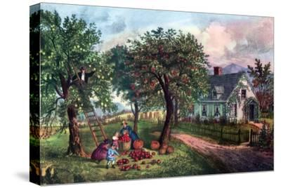American Homestead in Autumn, 1869-Currier & Ives-Stretched Canvas Print