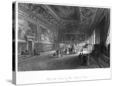 Hall of the Council of 'Five Hundred, Venice, Italy, 19th Century-E Challis-Stretched Canvas Print