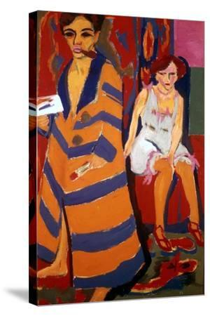 Self Portrait with a Model, 1907-Ernst Kirchner-Stretched Canvas Print