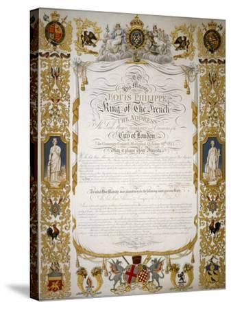 Illuminated Address from the Corporation of London to Louis Philippe of France, 1844-H Dowse-Stretched Canvas Print