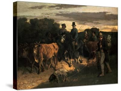The Farmers of Flagey (Les Paysans De Flagey), 1855-Gustave Courbet-Stretched Canvas Print