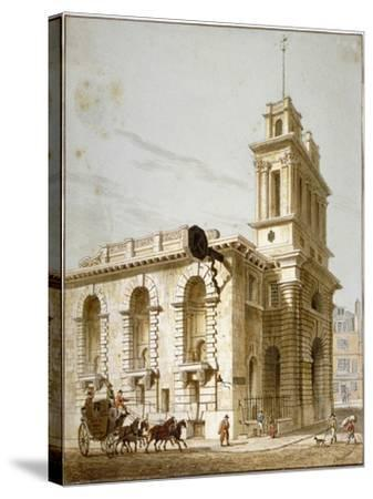 North-West View of the Church of St Mary Woolnoth, City of London, 1812-George Shepherd-Stretched Canvas Print