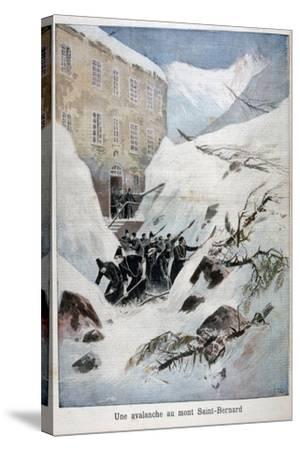 Avalanche at Mont Saint-Bernard, Switzerland, 1897-Henri Meyer-Stretched Canvas Print