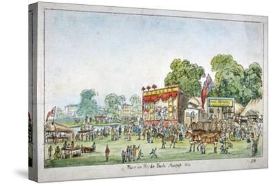 Fair in Hyde Park, Westminster, London, 1814-J Gordon-Stretched Canvas Print