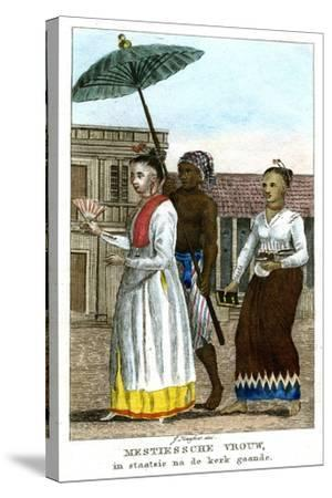 Woman with Servants, C1808-J Haafner-Stretched Canvas Print