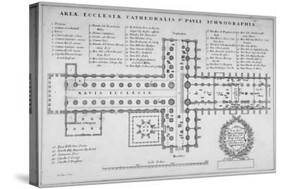 Plan of the Old St Paul's Cathedral, City of London, 1657-J Harris-Stretched Canvas Print