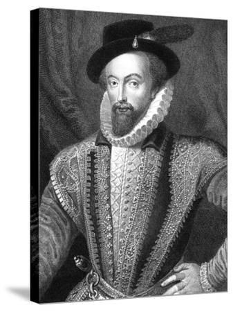 Sir Walter Raleigh, English Writer, Poet, Courtier, Adventurer and Explorer-J Fitler-Stretched Canvas Print