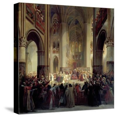 States General of Paris, 1328, Mid 19th Century-Jean Alaux-Stretched Canvas Print