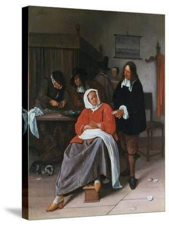 A Man Offering an Oyster to a Woman, C1660-1665-Jan Steen-Stretched Canvas Print