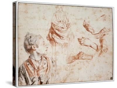 Study, 1716-1718-Jean-Antoine Watteau-Stretched Canvas Print