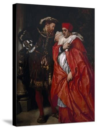 Ego Et Rex Meus, 1888; King Henry VIII and Cardinal Wolsey-John Gilbert-Stretched Canvas Print
