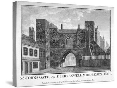 View of St John's Gate, Clerkenwell, London, C1790-John Peltro-Stretched Canvas Print